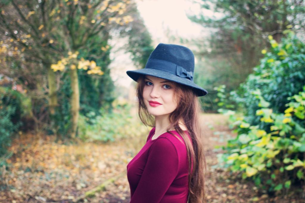 brunette-against-autumn-background