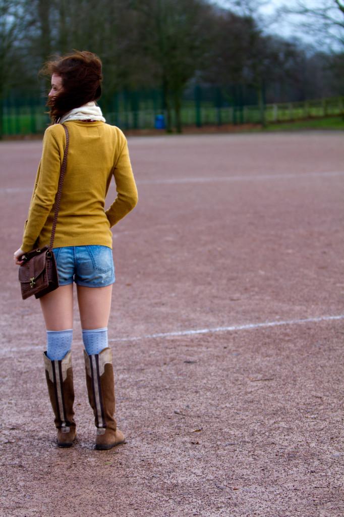 mustard-cardigan-blue-shorts