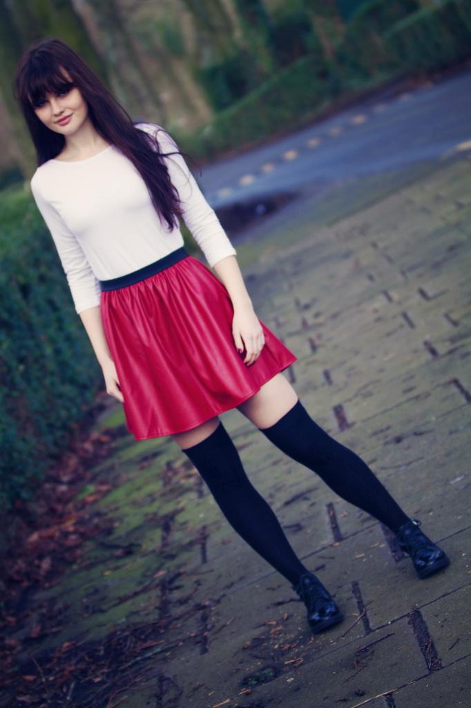 red-primark-skater-skirt