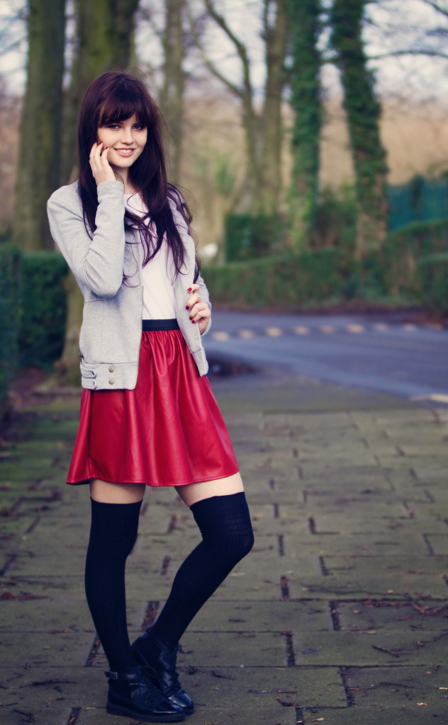 red-primark-skirt