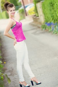 Strappy camisole top with white skinny jeans