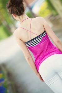Strappy cross back camisole in fine knit pink yarn
