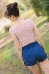 Back view of handknit cropped top designed by teen blogger Lily Kate France