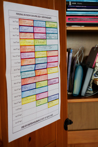 Colour coded GCSE revision timetable