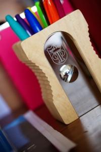 Sharpie pens sat in pencil sharpener pen holder