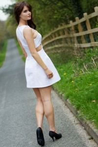 White cut out mini dress from Vogue sewing pattern
