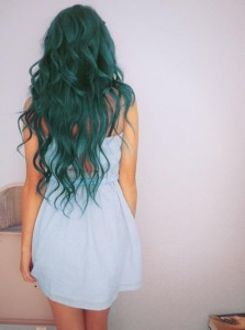 Turquoise coloured long hair