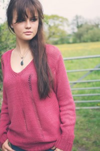 UK fashion blogger wearing ladder knit handknit sweater from Rowan