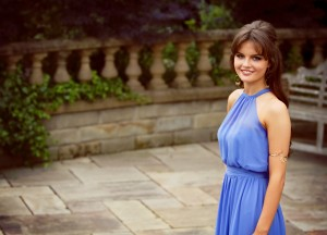 UK teen fashion blogger wearing gold arm band with high neck lilac prom dress