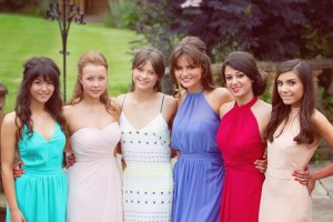 Group shot of friends before prom