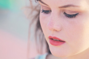 Close up portrait of UK teen blogger with pink lipstick