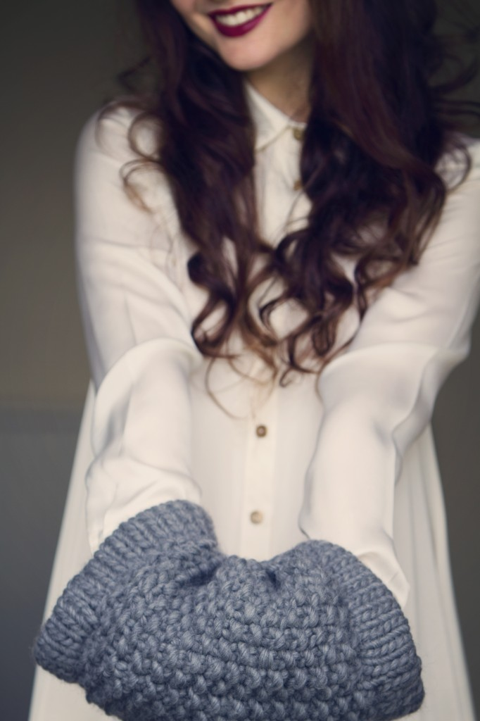 White shirt style swing dress with grey handknit muffler