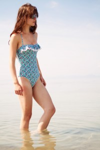 UK teen blogger wearing sunglasses and Frost French Floozie swimsuit