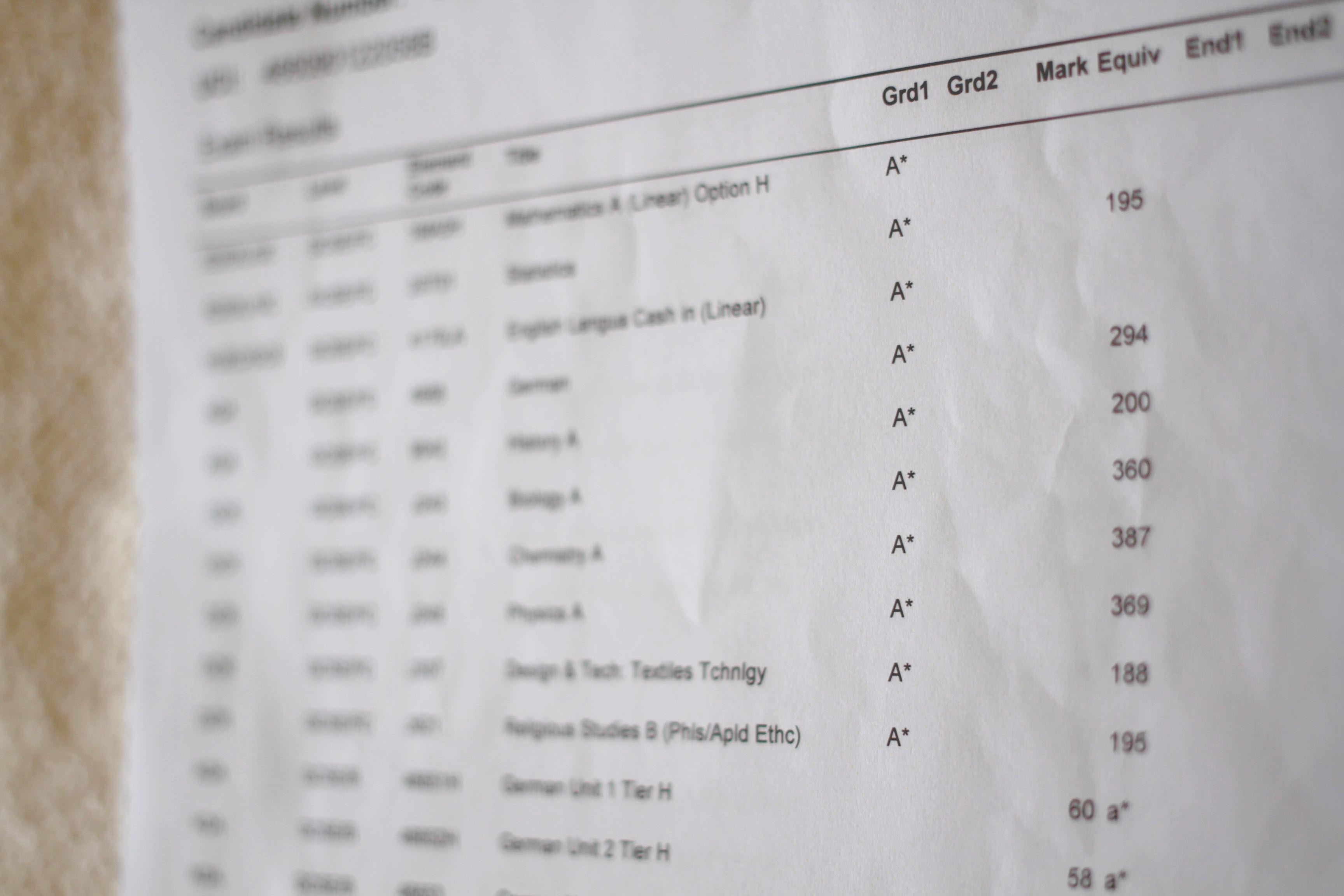 Teen blogger shows GCSE results 2014