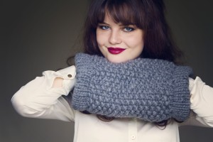 Grey knitted muffler kit from Wool and the Gang
