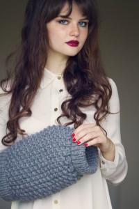 UK teen blogger wearing Wool and the Gang grey muffler