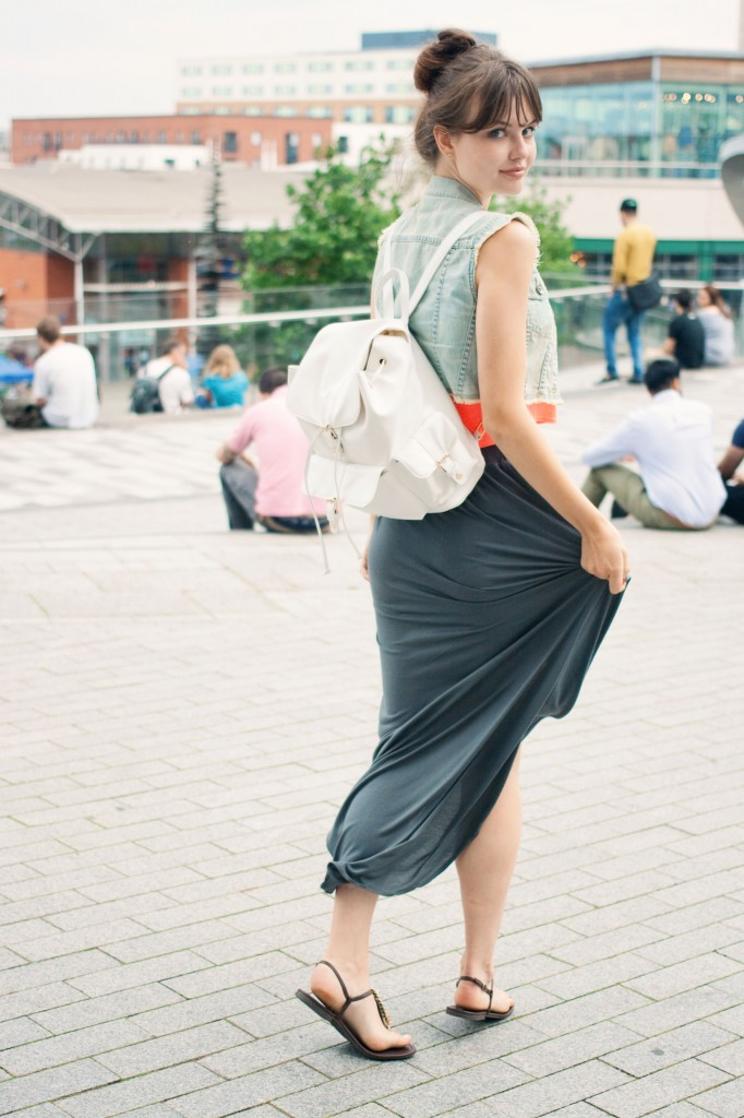 maxi-skirt-and-primark-backpack-for-shopping-in-birmingham