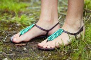 Strappy aqua and brown sandals