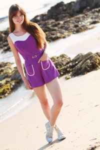 Teen blogger wearing River Island playsuit at Westport Beach Argyll Scotland