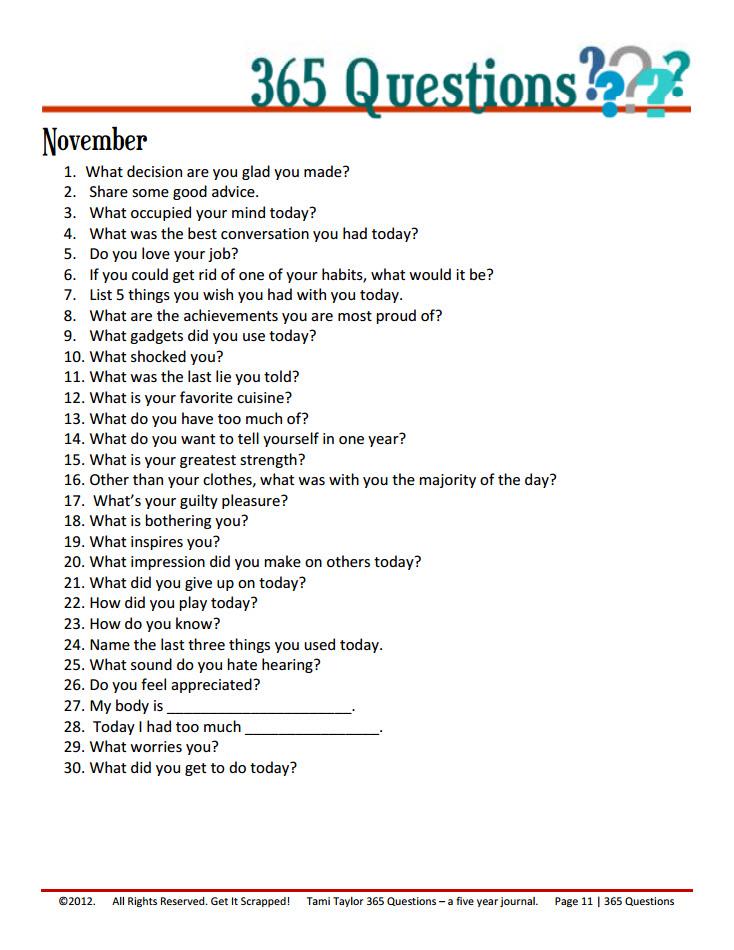 november writing challenge