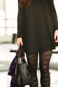 Black stripy patterned tights