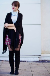 Teen blogger wearing Top Shop cape scarf