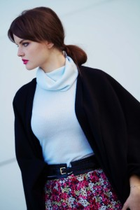 Teen blogger weraing ditsy print skirt and Top Shop cape scarf