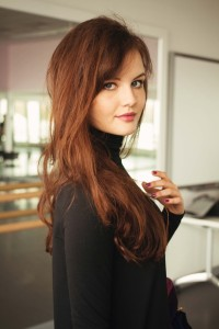 Brunette hair style with lots of volume
