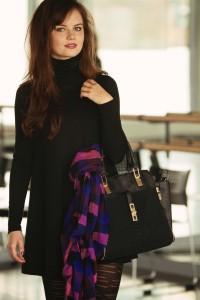 Black New Look handbag and check scarf