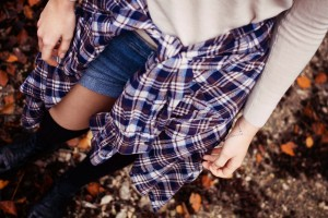 Denim shorts and plaid shirt with over the knee socks