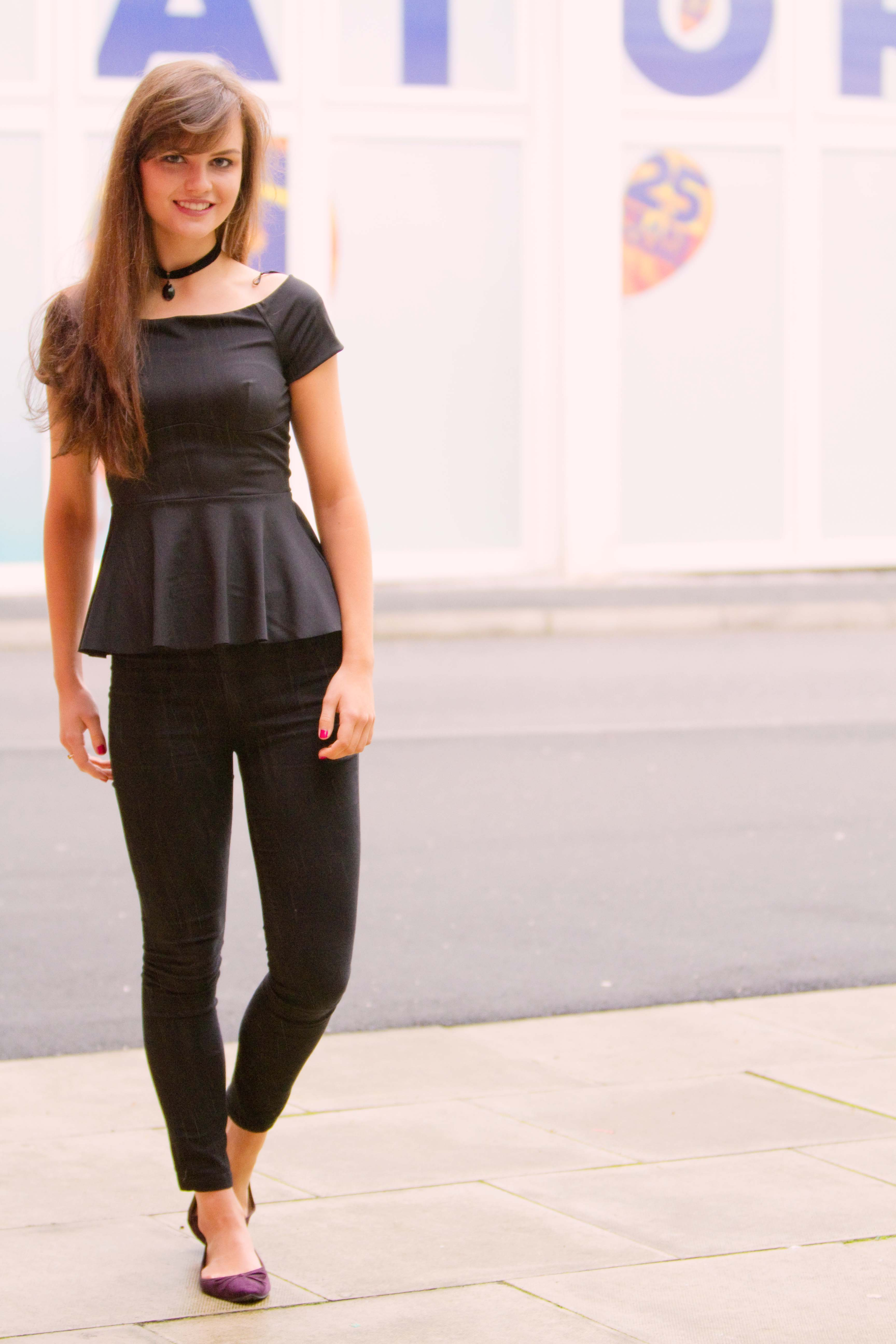 All black outfit with peplum bardot top