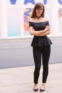 Fashion blogger wearing Bardot style peplum top