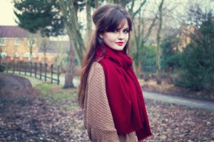 Out for a walk wearing rich red shawl and cosy cardigan