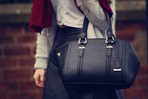 Black New Look tote bag with leather skirt