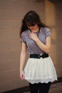 UK teen blogger wearing cream lace skirt by H & M