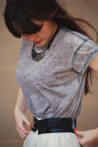Primar grey tee worn with Forever 21 cream lace skirt
