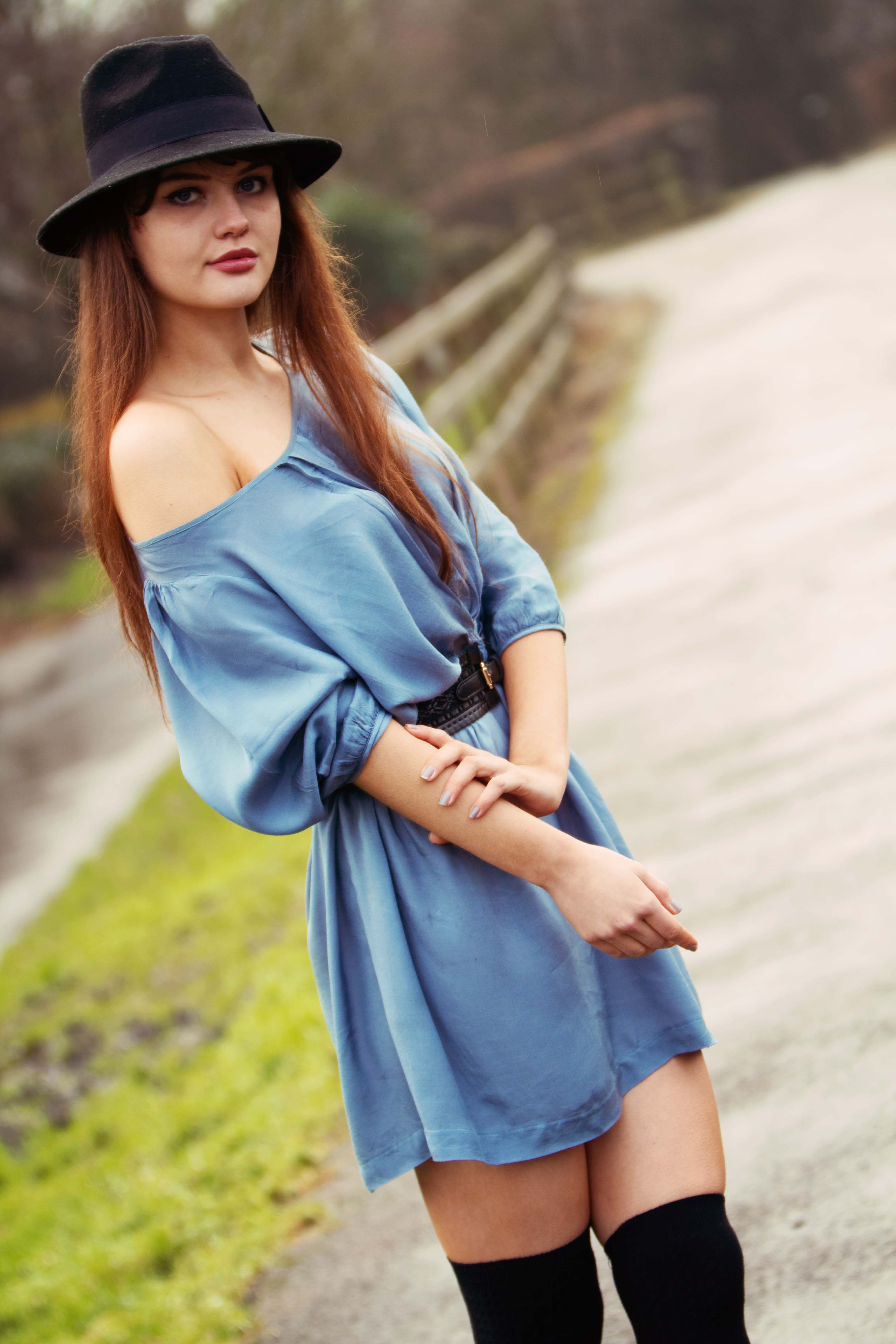 Blue off the shoulder dress