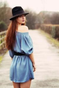 Pale blue off the shoulder dress worn belted