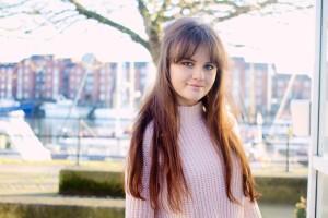 Smiling UK teen blogger photographed at Preston Marina