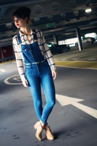 Denim and plaid outfit worn with Forever 21 boots