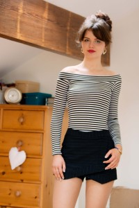 Striped off the shoulder top worn with navy pinstripe skort