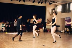 Teen girls in tap dance routine
