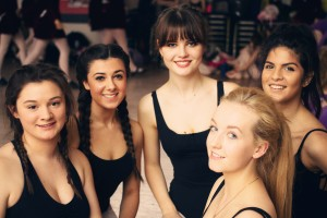 Teen girls getting ready for dance show