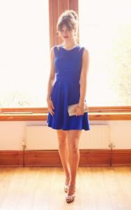 Electric blue split shoulder shorter length prom dress