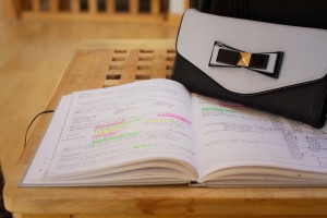college diary schedule and pale blue wallet