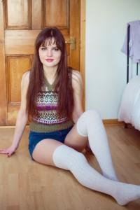 Fair Isle vest high-waisted shorts and thigh high socks