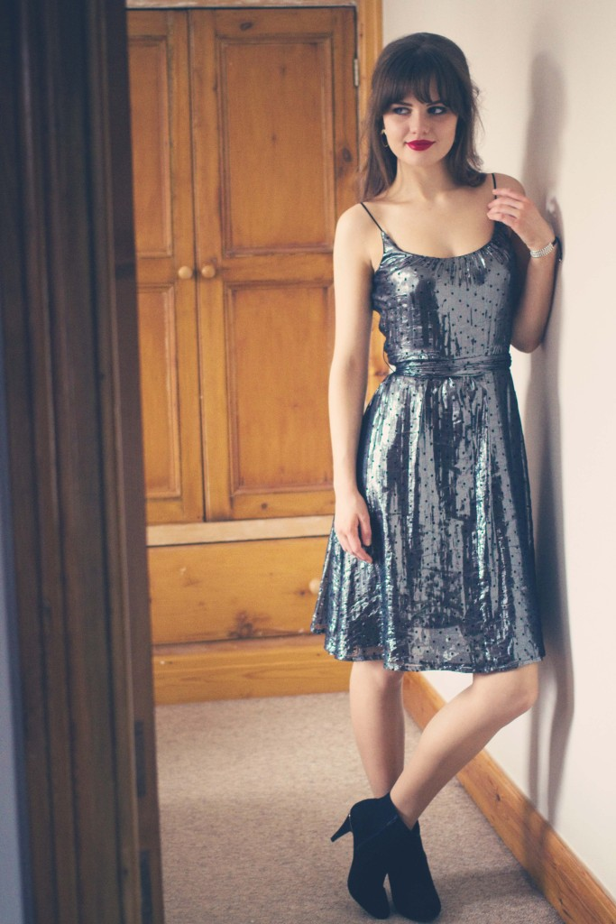 metallic-french-connection-dress