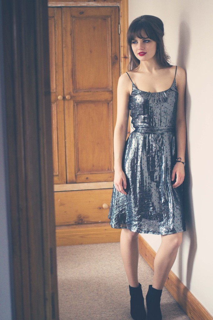 silver-metallic-french-connection-dress