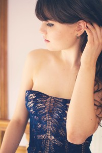 Navy lace shawlo worn as strapless top