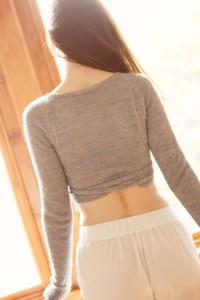 Back view of handknit wrapover ballet cardigan